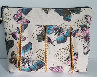 Large toiletry bag in linen and cotton bellows, butterfly patterns and geometric patterns