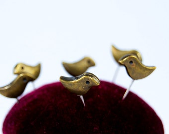 Antique Bronze Bird Pins - Set of 6 Push Pins
