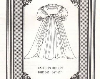 Doll dress gown Antique vintage look sewing pattern uncut 307