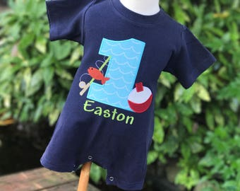 First Birthday Fishing Outfit - Personalized Fishing Romper - Boys First Birthday Outfit - Fishing Party - Gone Fishing Party - Fishing Pole