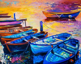 Oil Painting Original Painting Abstract Painting Abstract Art Canvas Art Large Art Wall Art Canvas Painting Large Painting Boats
