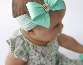 Baby Headband, Aqua Green Baby Headband, Mint Baby Bow Headband, Newborn Headband, Baby Girl Headband, Photo Prop, Nylon Headband, 1034
