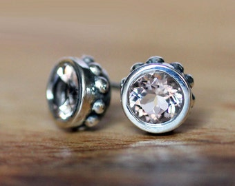 Morganite stud earrings, morganite bezel earrings, morganite studs, bezel stud earrings, silver gemstone earring, gift wrought ready to ship