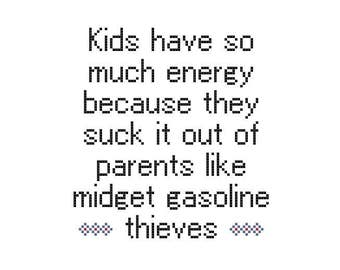 Subversive Cross Stitch Pattern PDF: Kids are Thieves CrossStitch PDF Pattern, Adult Humor