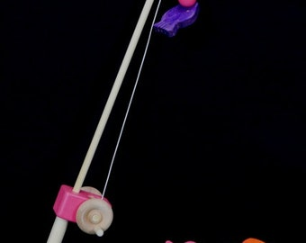 Pink Wooden Fishing Pole With Wood Fish