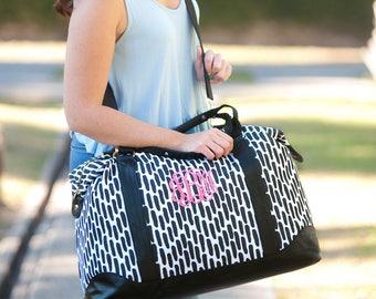 Monogrammed Womens Luggage Set,Personalized Carolina Night Weekender and Accessory Bag,Monogrammed Bridesmaid Bride Gift Bag