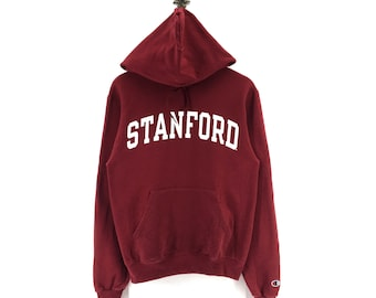 STANFORD vintage distressed HOODIE retro hooded sweatshirt 1980s oversized boyfriend fit SAQvr