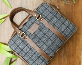 Grey Overcheck Twill - Tweed and Vegan Leather Laptop Messenger Bag for upto 15.6 inch laptops