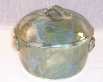 Stoneware Casserole, Ceramic Casserole, Green Baking Dish, Lidded Oven Dish, Stoneware Baking Dish, Bread Baker, Ready to ship, CL1