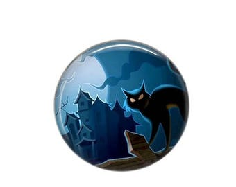 Round cabochon resin 25mm Chat Noir 09