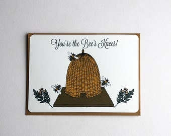 You're the Bee's Knees Notecards in Gold Brown, Gray and Cream - Set of 3, 6 or 10 Flat Notecards and Kraft Envelopes