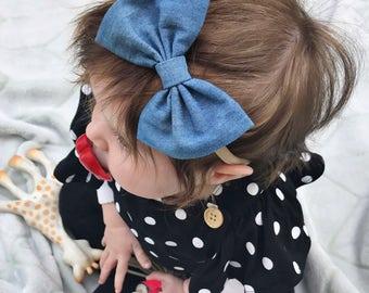 Light Denim : baby bow, jean bow clip, chambray headband, navy blue bow