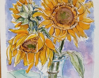 Sunflower art original watercolor painting flower art still life, an original watercolour painting of a still life with sunflowers