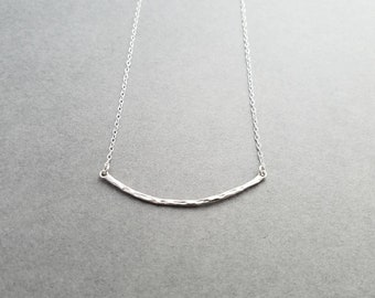 Hammered Bar - sterling silver necklace - minimalist