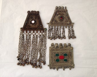 Vintage Moroccan, North African, Silver and Colored Glass Jewelry Panels (3 Total)