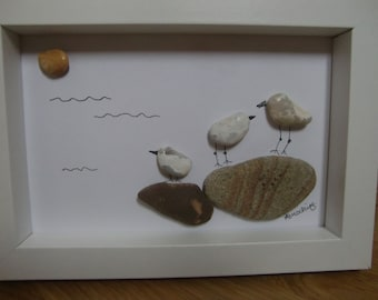 A Family of Seagulls Cornish Pebble Framed Picture