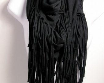 Black Fringe Scarf T-Shirt Scarves Black Fringe Infinity Scarves Fringe Infinity Scarf Black Cotton Fringe Scarves Western Scarves