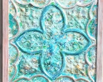 "Vintage Design Ceiling Tile, abstract and metallic paints, framed   26"" x 26"" Turquoise, white, aqua, green, gold, bronze.  White washed"