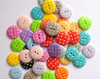 Large Polka Dot Buttons - MIXED BAG of 50