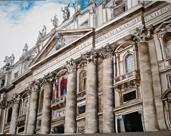 Saint Peter's Basilica in Rome Watercolor Painting