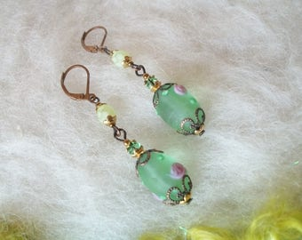 Earrings with Glass Beads Small Vintage Style Dainty Lamp Work Earrings Filigree Bead Caps Frosted Green Egg Shaped Bead with Pink Roses