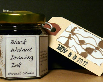 Artisan Black Walnut Drawing Ink, small 1.5 oz or large, 4 oz. Luminous, light fast. Not permanent. Can lift and soften with dry brush.
