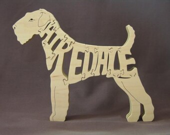 Airedale Wooden Dog Toy Puzzle Hand Cut with Scroll Saw
