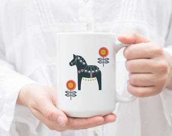 Dala Horse, Coffee Mug, Tea Mug, Swedish Dala Horse, Spring Dala Horse, Scandinavian, Swedish Horse, Red Orange, Red, Orange