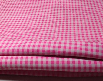 Pink Check Cotton Fabric, Sold by the yard,  4.5 yards available, 46 inches wide