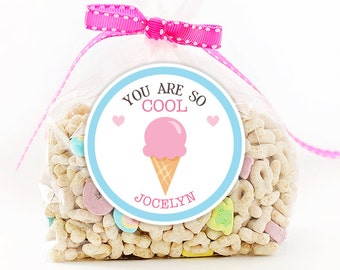Personalized Stickers You Are So Cool Valentine Party Stickers, Valentine Circle Stickers, Ice Cream Party Favor, Valentine Circle Stickers