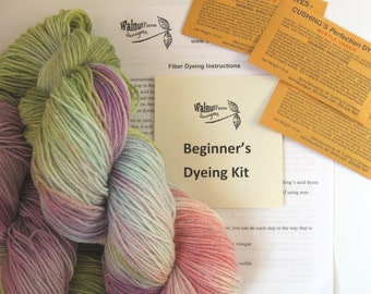 Yarn Dye Kit for Beginner's Includes Dyes and Instructions for Dyeing Acid Dyes