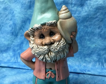 Tropical boy gnome, handcrafted garden tropical gnome, boy gnome, handcrafted gnome