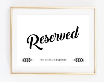 reserved for bride s parents sign printable wedding