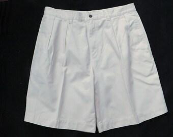 men's pleated front shorts, Beige shorts men - men's dress shorts, size 34 shorts men ,   # 16