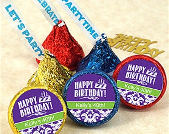Adult Birthday Party Personalized Candy Kisses - 100 Pieces - Assorted Colors