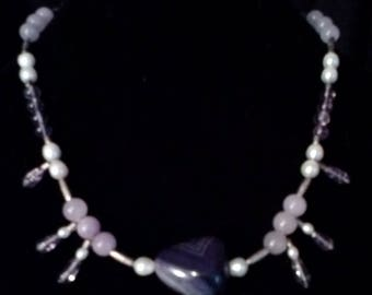 Necklace of Amethyst, Lavendar Jade and Freshwater Pearls 16 inches