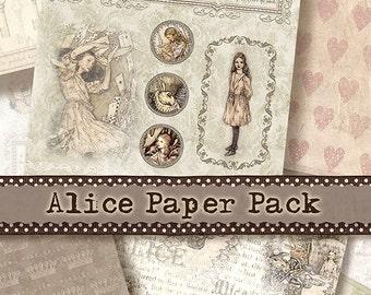 Paper Pack Alice in Wonderland, INSTANT DOWNLOAD, 8 Digital Collage Sheets, 8,5x11 inch, Background