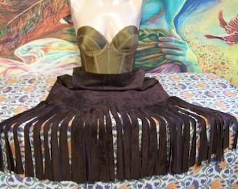 Fringe skirt, Leather, Long Fringe, skirt,  brown, suede skirt, hippie fringe, Pocahontas, size M
