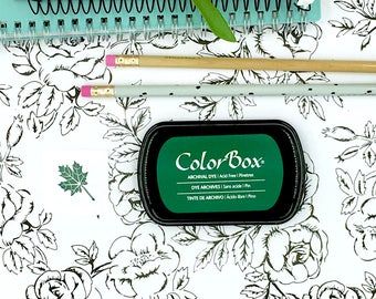 Green Ink Pad, Permanent - Colorbox Archival Dye Ink pad in Pinetree