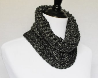 SALE! Black and Grey Crochet Cowl, Chunky Gray Neck Warmer, Short Infinity Scarf, Crochet Collar Scarf - Charcoal, Gray and Black