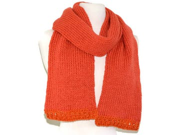 Coral knit scarf, long scarf, knit scarf, chunky knit scarf, women scarf, long knit scarf, rib knit scarf, knitted scarf, chunky scarf  sale