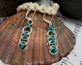 Celtic Earrings, Chainmail Jewelry, Gift for Her, Dangle Earrings, Dainty Earrings, Simple Earrings, Celtic Jewellery, Everyday Jewelry