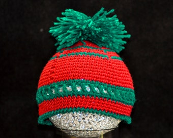 Baby Beanie Crochet Hat Photo Prop Small Baby Photo Prop Crochet Hat Bright Red Dark Green Aqua with Pom Pom