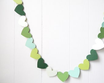 Green Heart Garland / Wedding Decoration / Love Bunting / Anniversary Decor / Photo Prop / Adjustable Hand Sewn
