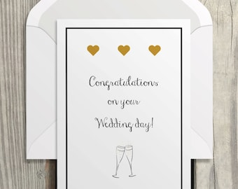 Congratulations, best wishes wedding instant download card/Printable Greeting Card, Just Married, Bride and Groom/PDF instant download