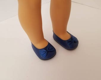 """Navy blue ballet flats for 18"""" American Girl Doll, leather dress shoes"""