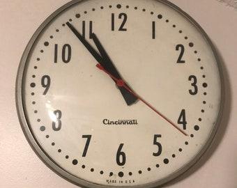 Vintage Schoolhouse Clock from Cincinnati