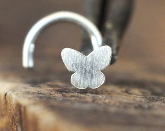 Silver Butterfly Nose Stud | Custom Nose Ring | Nose Jewelry | Nose Screw | Nose Piercing | Handmade Nose Stud | Nose Body Jewelry