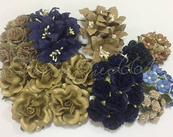 75 Mixed Sizes of Vintage modern tone  Gold Taupe Blue Handmade Mulberry Paper Flowers