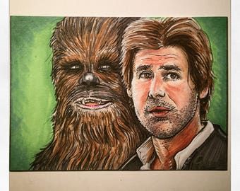 Han Solo & Chewbacca Artist Trading Card FREE SHIPPING